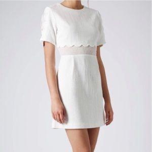 TOPSHOP White Scallop Shift Insert Dress Sz 6